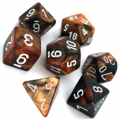 Black & Copper Gemini Polyhedral 7 Dice Set